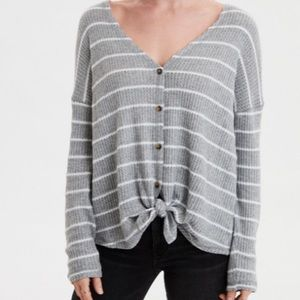 American Eagle Waffle knot Top